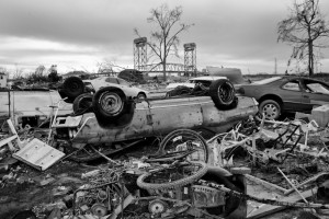 Automobiles left upside down at the corner of Deslonde and N Prieur Streets in the Lower Ninth Ward. January 26, 2006. Photo/Andy Levin