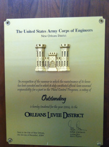 "Every year, from 1959 to 2004, the Orleans Levee District received an award plaque with a grade of ""Outstanding"" for the ""the manner in which the maintenance of its levees has been executed."" Photo/Sandy Rosenthal"
