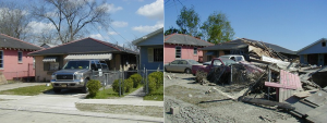 A home on Forstall Street, four blocks from the breach site. March 2005 and October 2005. Photos/Roy Arrigo