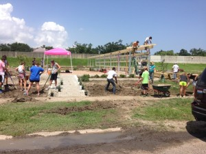 Two days before ribbon cutting day, contractors and volunteers were working toward completion. Photo/Kenneth Evans