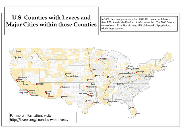 U.S. Counties with Levees and Major Cities within those Counties