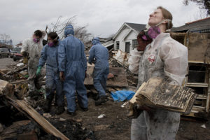 Volunteers in the Lower Ninth Ward on January 28, 2006. Photo/Andy Levin