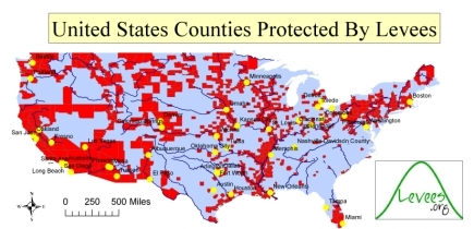 Populations in U.S. counties protected by levees
