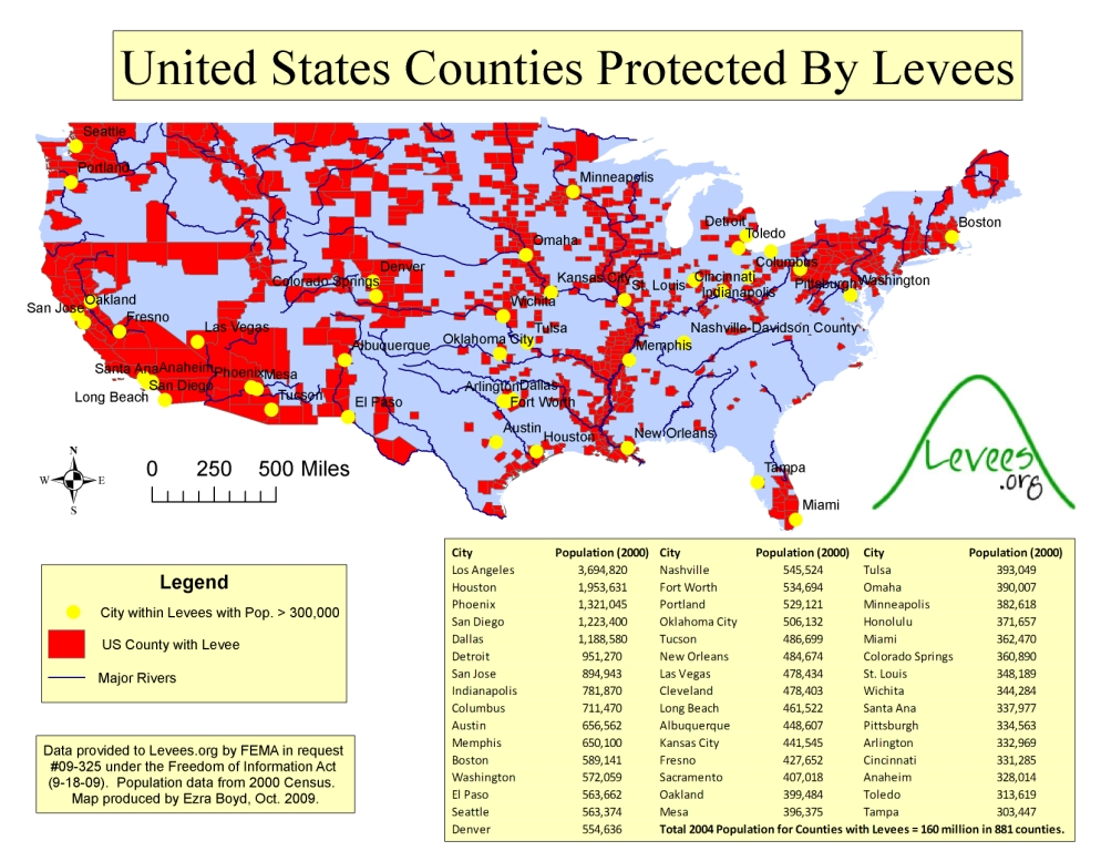 Large Map Of US Counties With Levees LeveesOrg - Map of us counties